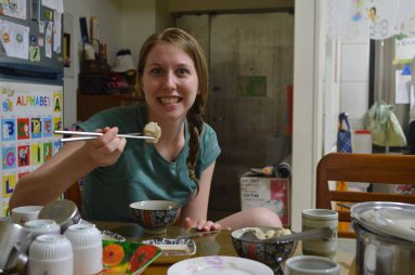 Successfully using chopsticks!